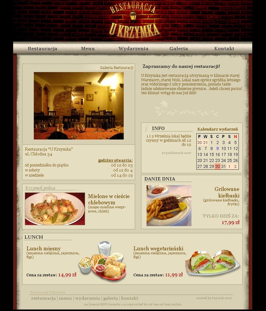 U Krzymka - adres, telefon, www   Gastronomia Wola Warszawa Wola Warszawa