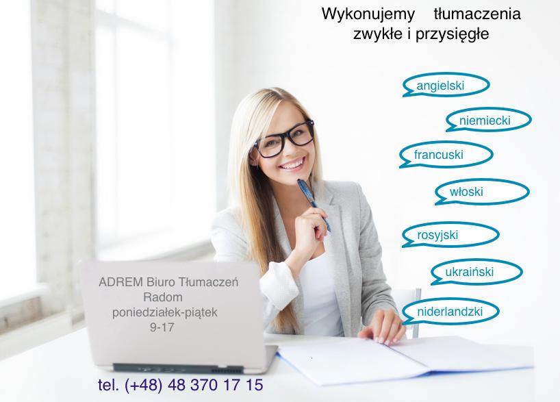 Biuro Tłumaczeń Adrem - adres, telefon, www | Inne - Usługi Radom Radom