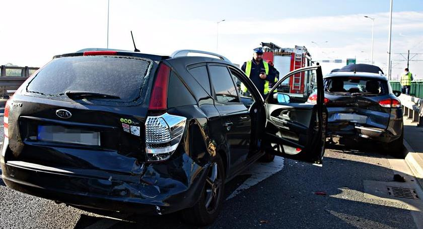 Wypadki, Zderzenie czterech samochodów Moście Północnym [ZDJĘCIA] - zdjęcie, fotografia