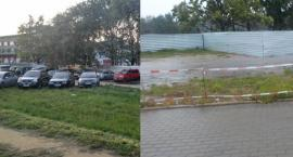 Koniec parkowania na zieleni przy Światowida. Teren został prowizorycznie odgrodzony