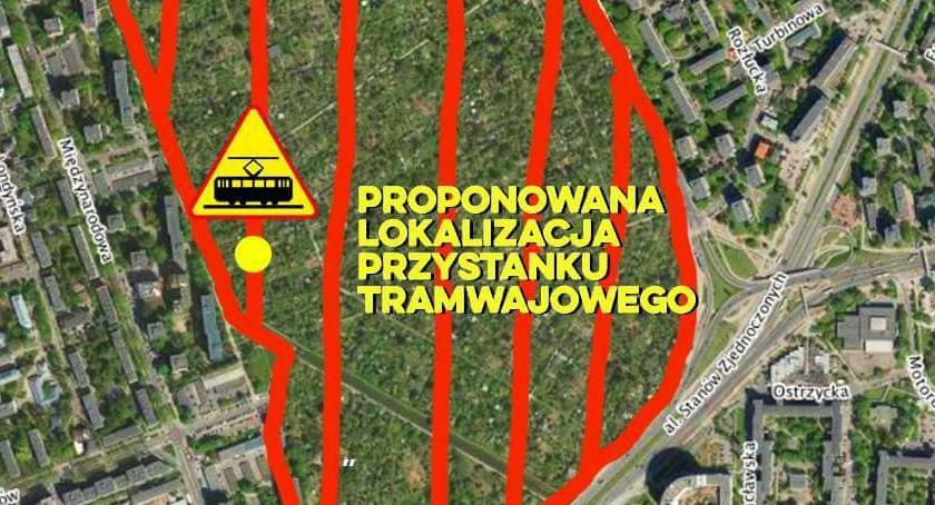 Tramwaj na Gocław, Tramwaj Gocław planie przystanek budzący kontrowersje - zdjęcie, fotografia