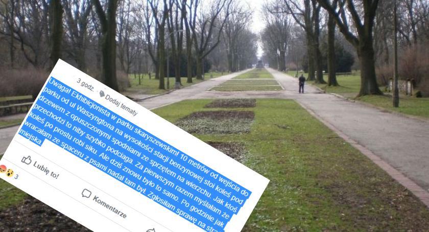 Bezpieczeństwo, Uwaga! Ekshibicjonista Parku Skaryszewskim - zdjęcie, fotografia
