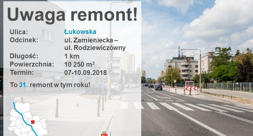 Ulice, weekend wymiana nawierzchni Łukowskiej - zdjęcie, fotografia