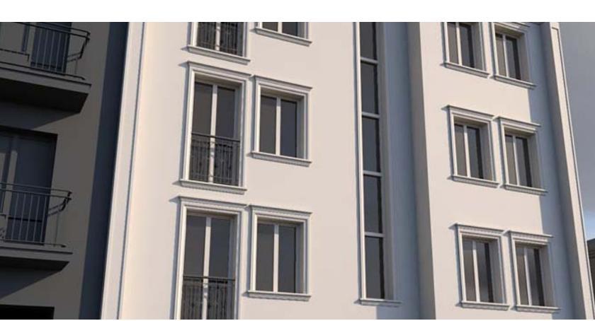 Mieszkalnictwo, Replika kamienicy sprzed razem przyłączona sieci ciepłowniczej - zdjęcie, fotografia