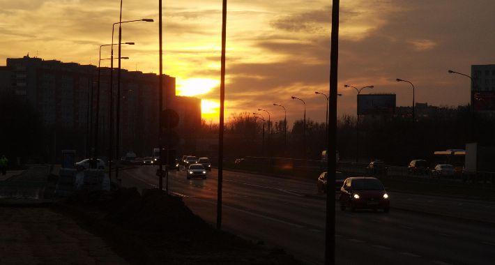 Podróże, Zachód słońca Przyczółku Grochowski - zdjęcie, fotografia