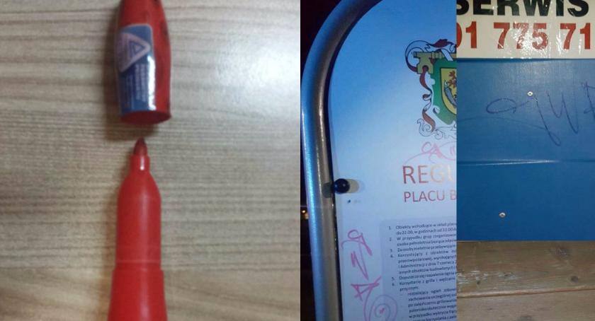 Straż Miejska, Recydywista czerwonym mazakiem ręku - zdjęcie, fotografia