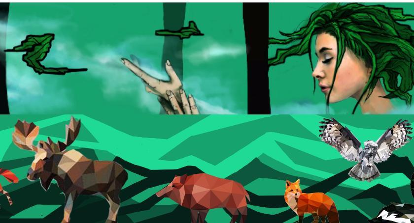 Piękna boginka i leśne zwierzęta, czyli mural na Świątkach