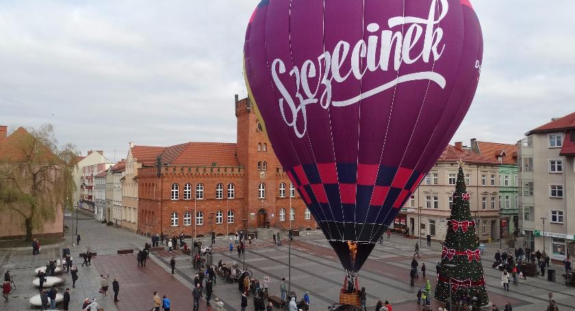 balon Szczecinka, prezentacja na placu Wolności