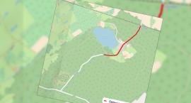 II. Zimowy Cross Bociana w Nadleśnictwie Czarnobór. Zamknięta droga powiatowa