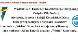 Trzy punkty, trzy bramki, bez meczu - walkower dla Wielimia, lider w Szczecinku