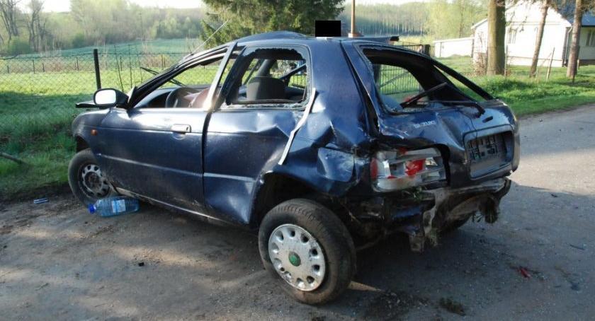 Zdarzenia, Tragiczny wypadek Dobkowicach kierowca suzuki uderzył przepust drogowy - zdjęcie, fotografia