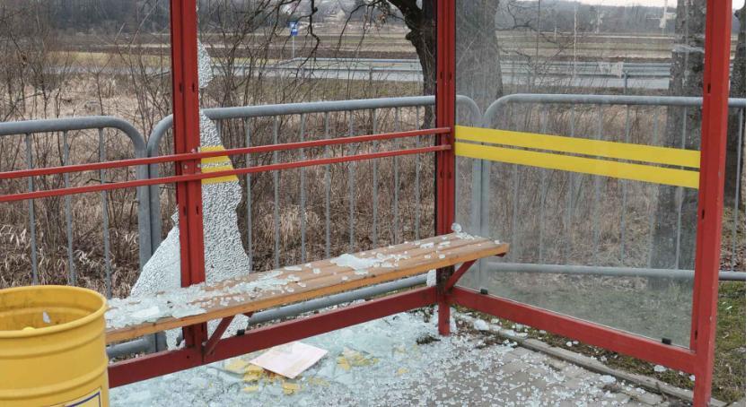 Wybili szyby na przystankach