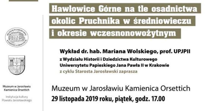Wydarzenia, Wykład Mariana Wolskiego UPJPII Hawłowice Górne osadnictwa okolic Pruchnika średniowieczu okresie wczesnonowożytnym - zdjęcie, fotografia