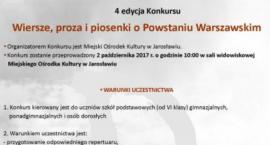 IV edycja konkursu wiersze, proza i piosenki o Powstaniu Warszawskim