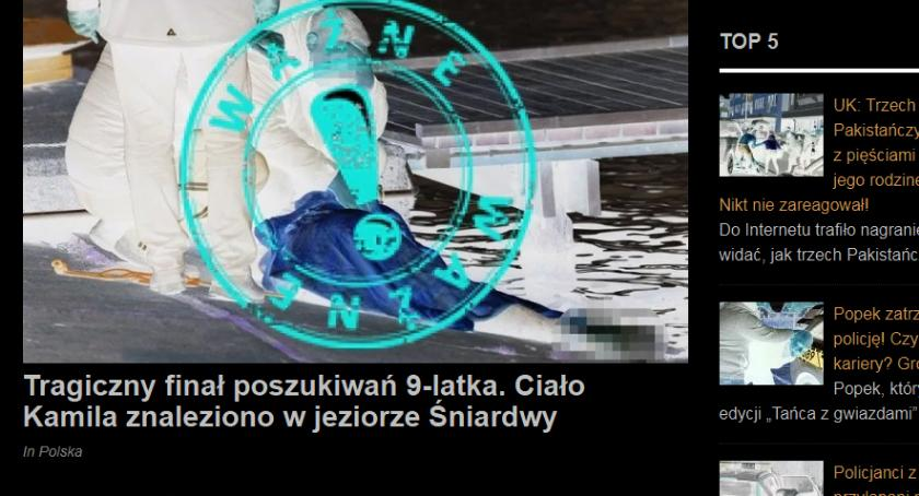 Kronika kryminalna, Makabryczny latek Łomży wyłowiony jeziora Śniardwy! - zdjęcie, fotografia