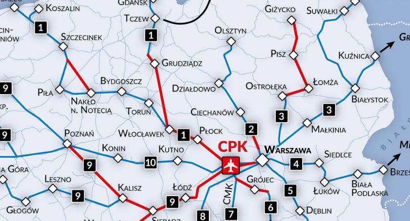 Komunikacja, Łomża mapie nowych linii kolejowych Dojedziemy Warszawy Mazury - zdjęcie, fotografia