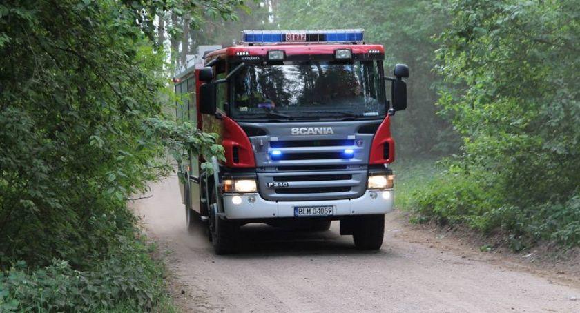 Pożary i interwencje straży, lesie spłonął samochód - zdjęcie, fotografia