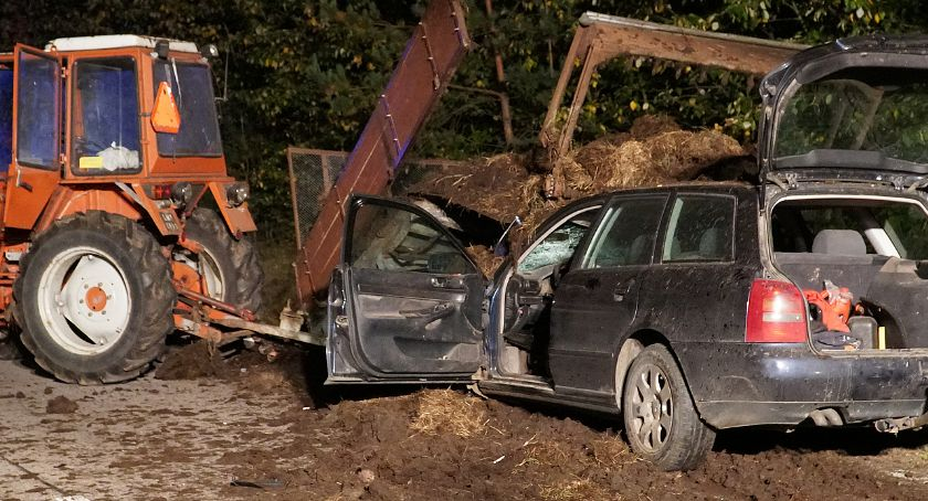 Wypadki drogowe, Śmierć drodze Łysych! Część rozrzutnika zabiła kierowcę ciężarówki [FOTO] - zdjęcie, fotografia