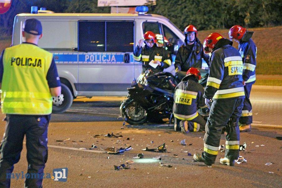 Wypadki drogowe, Wypadek motocyklisty [FOTO] - zdjęcie, fotografia
