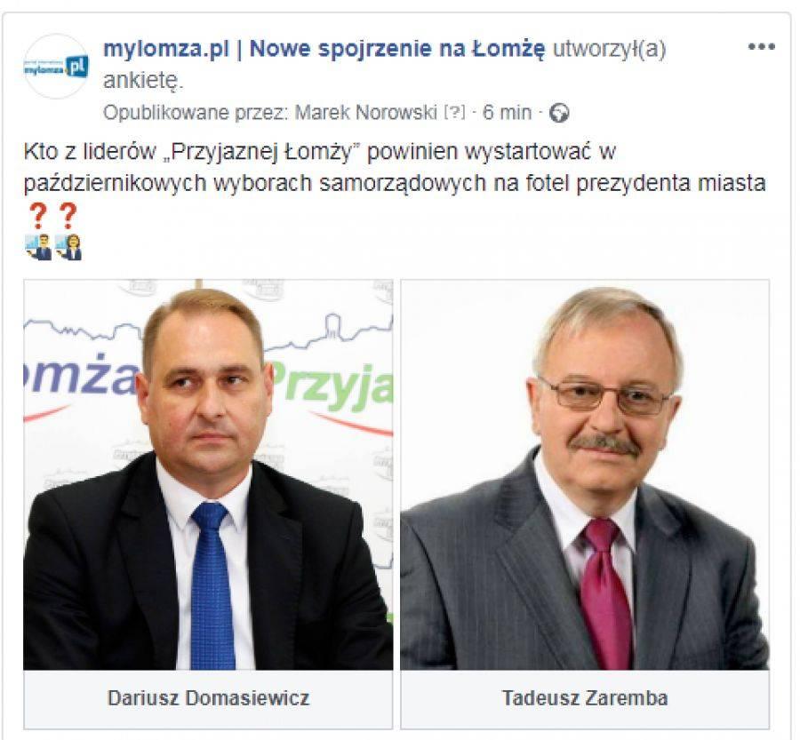 """Łomża, Prawybory """"Przyjaznej Łomży"""" Kandydatów dwóch [ANKIETA] - zdjęcie, fotografia"""