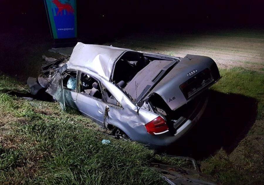 Wypadki drogowe, Pijany kierowca rozbił [FOTO] - zdjęcie, fotografia