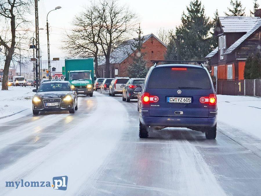 Łomża, Uwaga! Fatalne warunki drogach! [FOTO VIDEO] - zdjęcie, fotografia