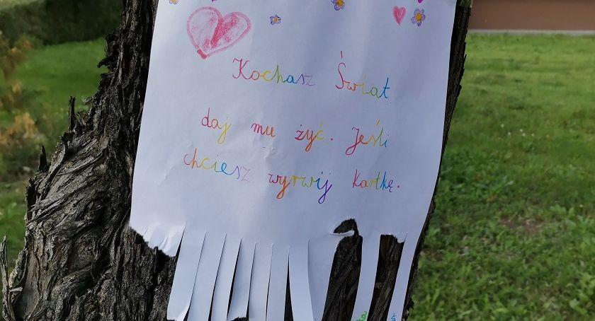 """WASZE NEWSY, """"Kochasz Świat żyć"""" Nietypowe ogłoszenie drzewie - zdjęcie, fotografia"""