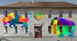 Mural z wozem Drzymały