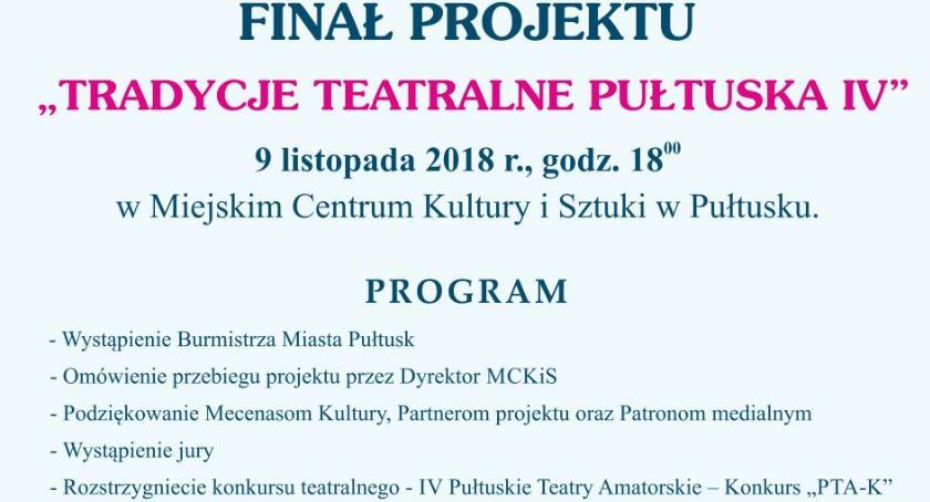 Zaproszenia, Tradycje Teatralne Pułtuska zaproszenie finał projektu - zdjęcie, fotografia