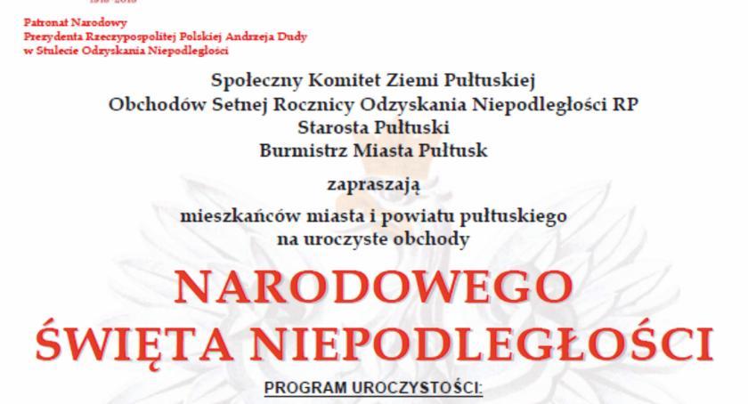 Zaproszenia, Listopada Pułtusku obchody rocznicy odzyskania Niepodległości program - zdjęcie, fotografia