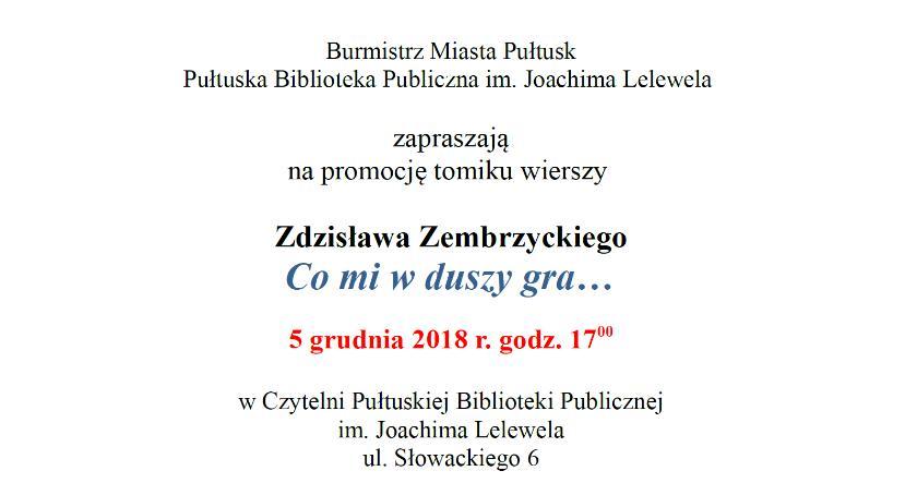 Zaproszenia, Zaproszenie promocję tomiku wierszy Zdzisława Zembrzyckiego - zdjęcie, fotografia