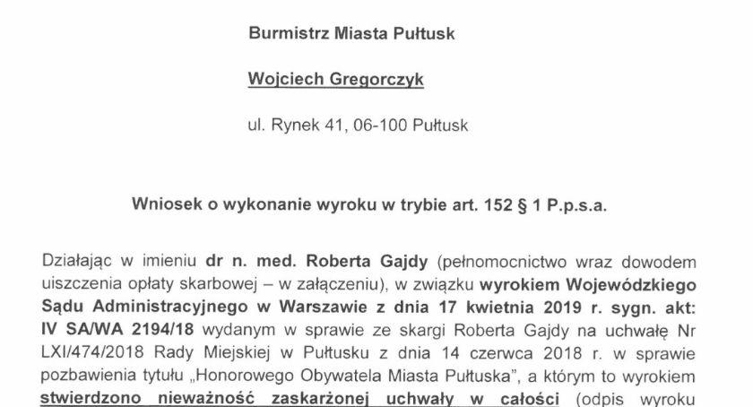 Komunikaty, Robert Gajda wnioskuje burmistrza - zdjęcie, fotografia