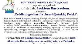ZAPROSZENIE Spotkanie z prof.dr hab. Jackiem Bartyzelem