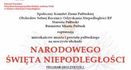 11 Listopada w Pułtusku - obchody 100. rocznicy odzyskania Niepodległości - program