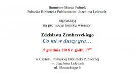 Zaproszenie na promocję tomiku wierszy Zdzisława Zembrzyckiego