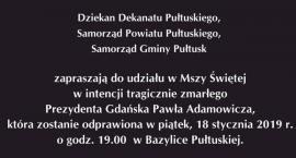 Msza Święta w intencji Prezydenta Gdańska ŚP. Pawła Adamowicza