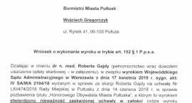 Robert Gajda wnioskuje do burmistrza