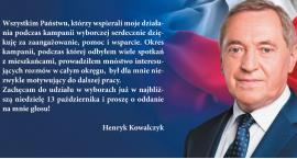 Henryk Kowalczyk dziękuje za pomoc w kampanii