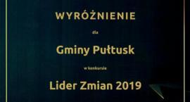 Gmina Pułtusk wyróżniona w konkursie Lider Zmian 2019