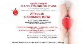 4 listopada oddaj krew dla Krystiana, chorego na białaczkę!