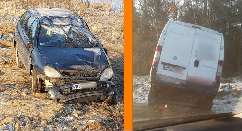 Wypadki drogowe , Dachowanie Leszczynach rowie obwodnicy kierowcy zwiększcie ostrożność - zdjęcie, fotografia