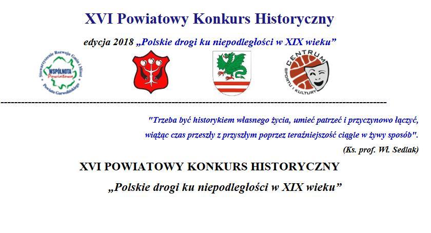 Inne Powiat, Powiatowy Konkurs Historyczny Polskie drogi niepodległości wieku - zdjęcie, fotografia
