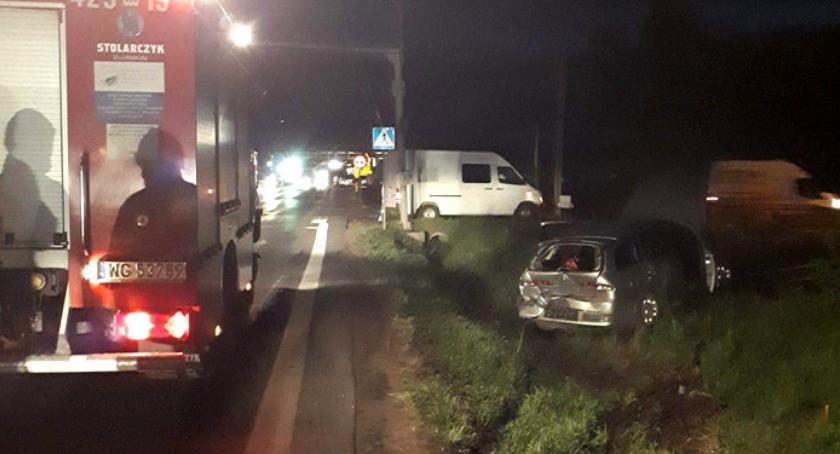 Wypadki drogowe , Kolizja dwóch samochodów Puznówce - zdjęcie, fotografia
