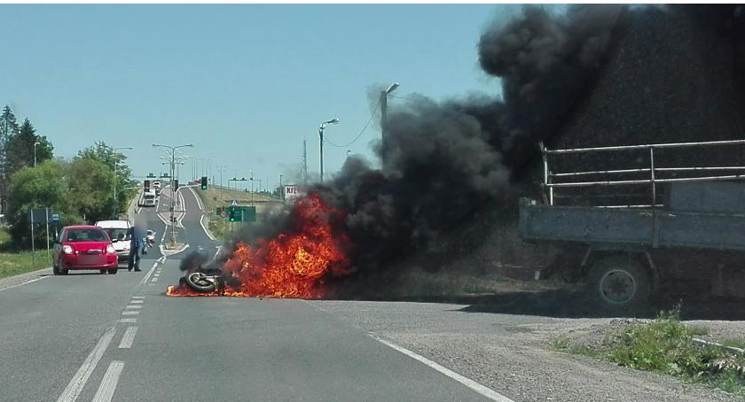 Wypadki drogowe , Śmiertelny wypadek Rębkowskiej motocykl stanął płomieniach - zdjęcie, fotografia