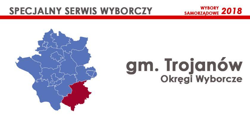Obwody wyborcze, Trojanów Okręgi wyborcze wybory samorządowe - zdjęcie, fotografia