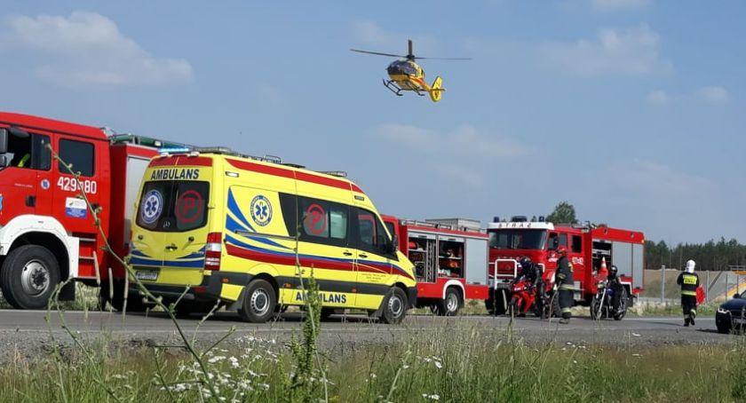 Wypadki drogowe , Śmiertelny wypadek Motocyklista zmarł szpitalu Droga zablokowana - zdjęcie, fotografia