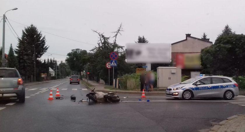 Wypadki drogowe , Wypadek latka doprowadziła zderzenia motorowerem - zdjęcie, fotografia