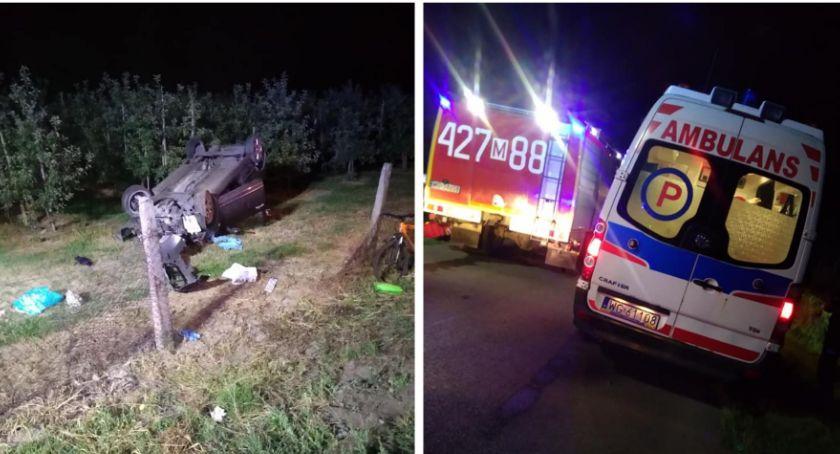 Wypadki drogowe , Wypadek Kobieta zasnęła kierownicą samochód dachował - zdjęcie, fotografia