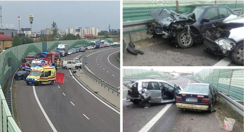 Wypadki drogowe , Wypadek obwodnicy Garwolina Droga zablokowana - zdjęcie, fotografia