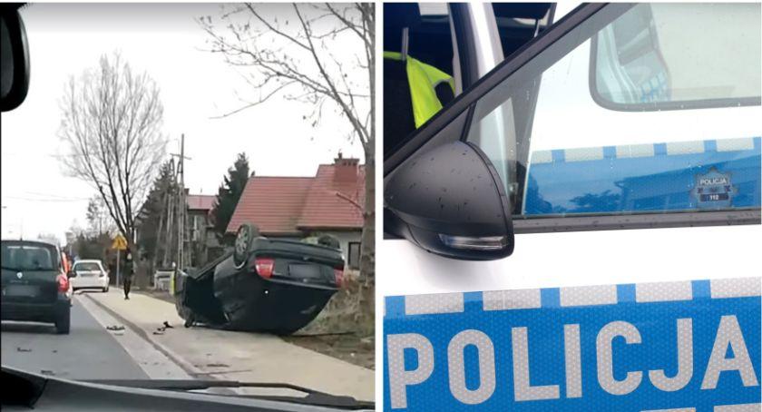 Wypadki drogowe , Kolizja samochodów Jeden pojazd dachował - zdjęcie, fotografia